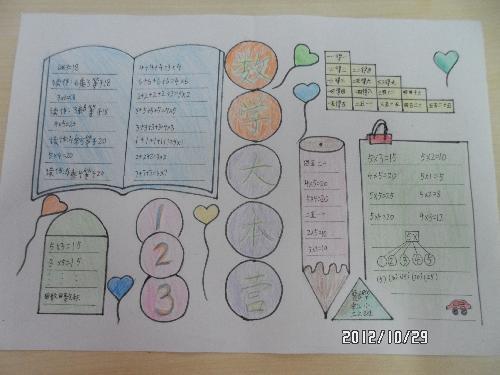 上面写出手抄报的主题,体现了数学大本营的印迹,并在周围用七彩花装扮