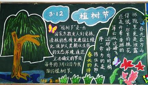 植树的黑板报-植树节黑板报的内容应包含植树节的来历,植树节种树的方法,植树节图片