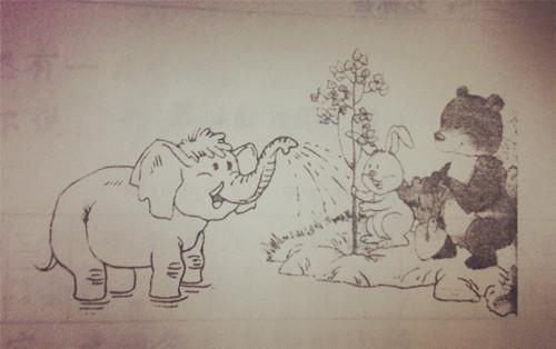 一年级看图写话:小动物们来种树